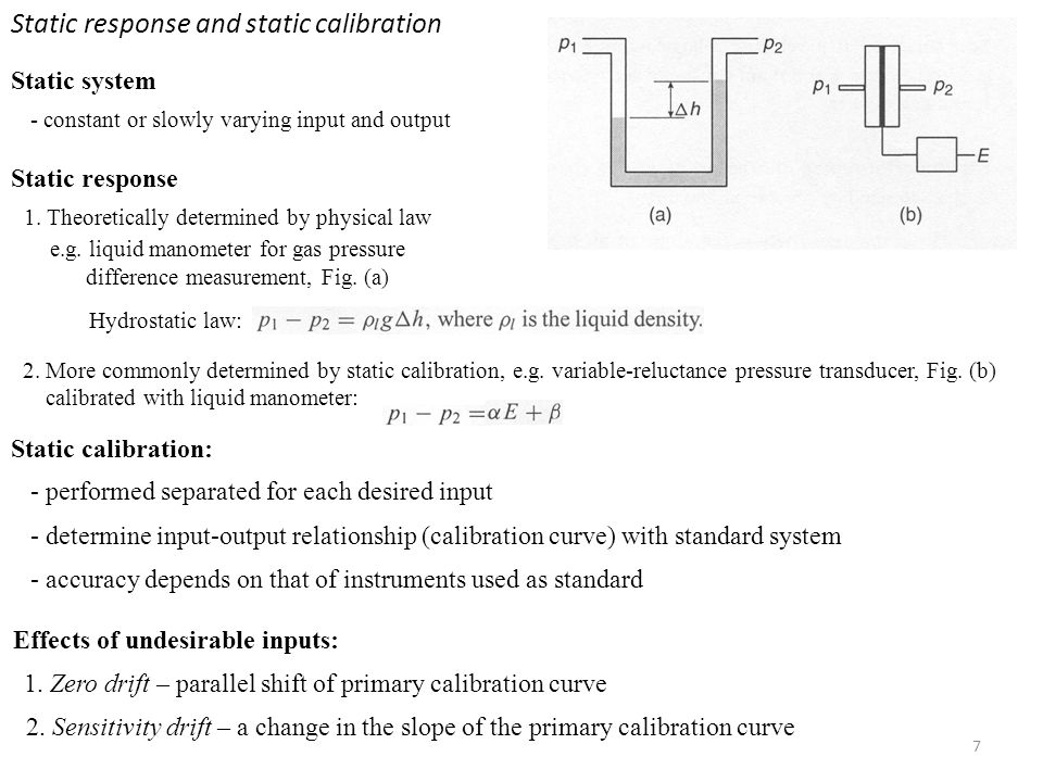 Static response and static calibration