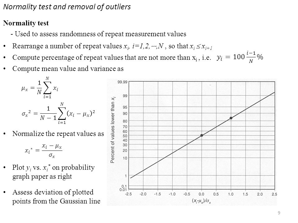 Normality test and removal of outliers