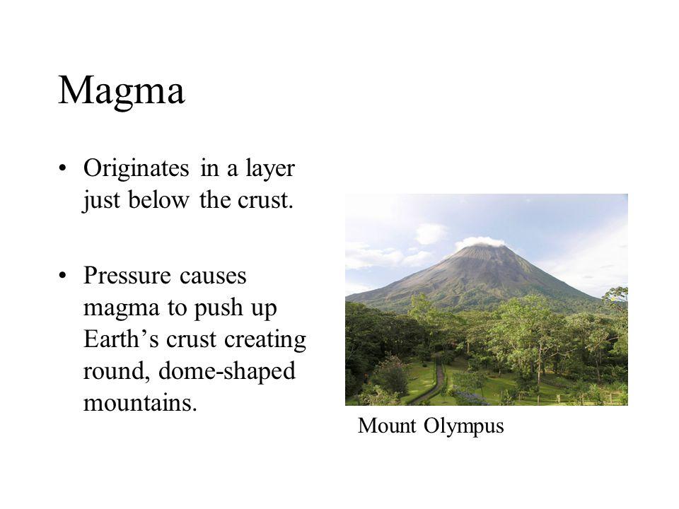 Magma Originates in a layer just below the crust.