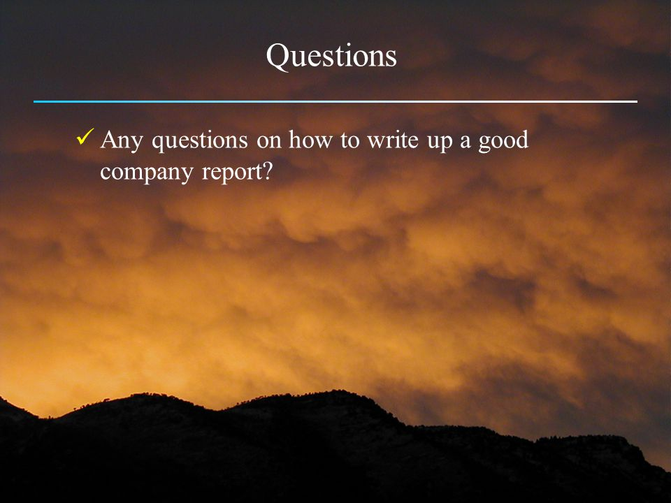 Questions Any questions on how to write up a good company report
