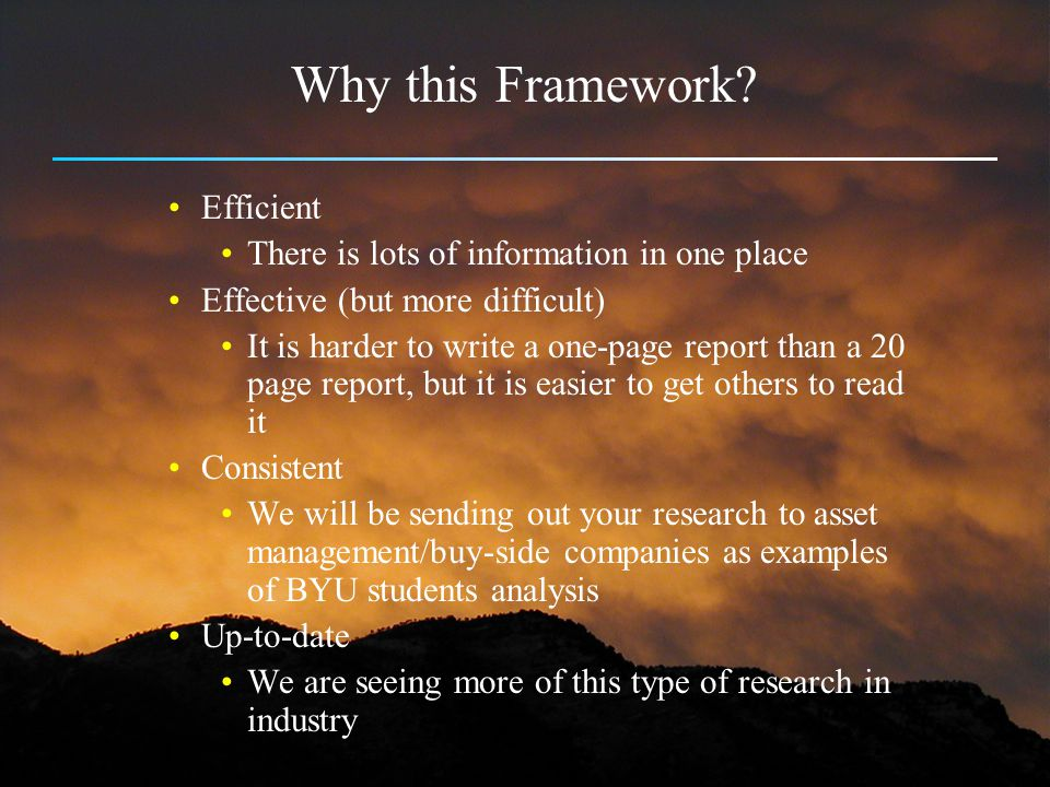 Why this Framework Efficient