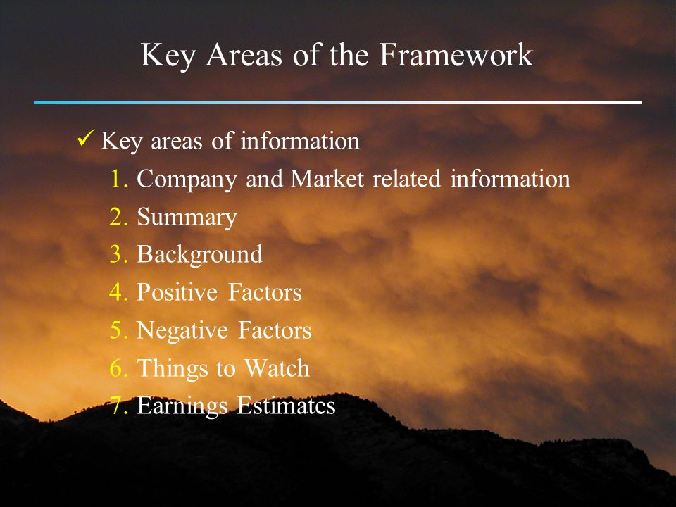 Key Areas of the Framework