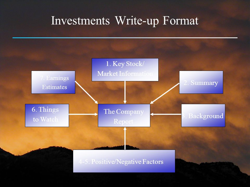 Investments Write-up Format