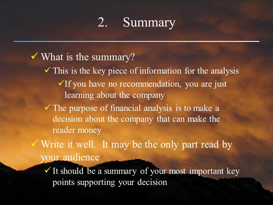 Summary What is the summary