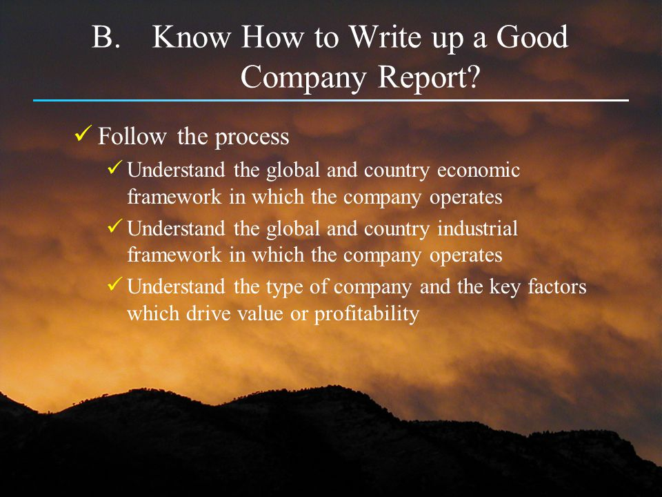 Know How to Write up a Good Company Report