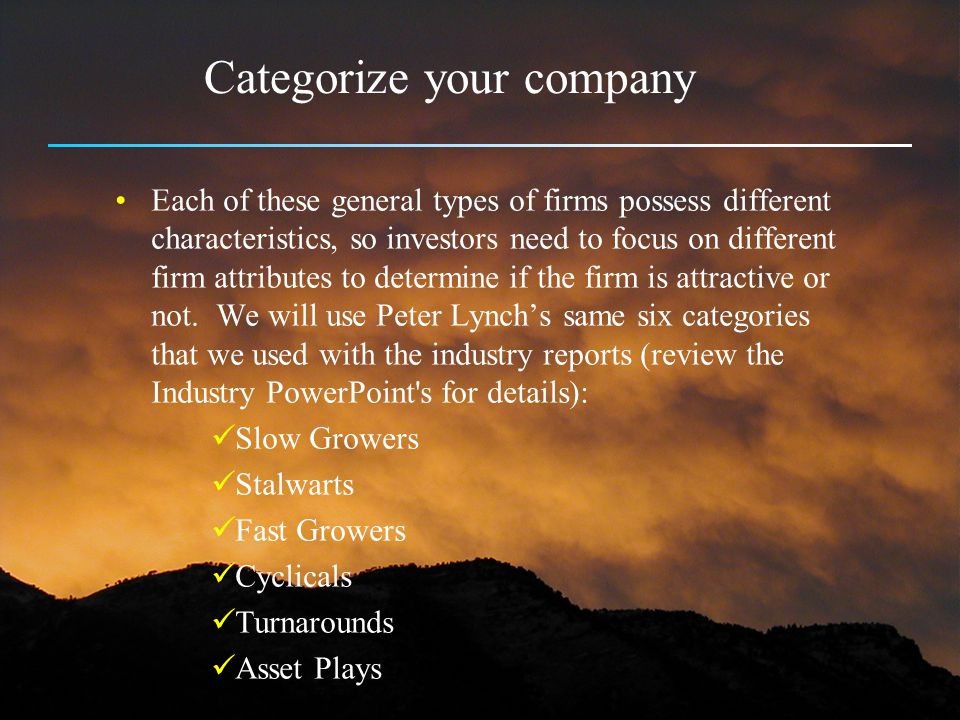 Categorize your company