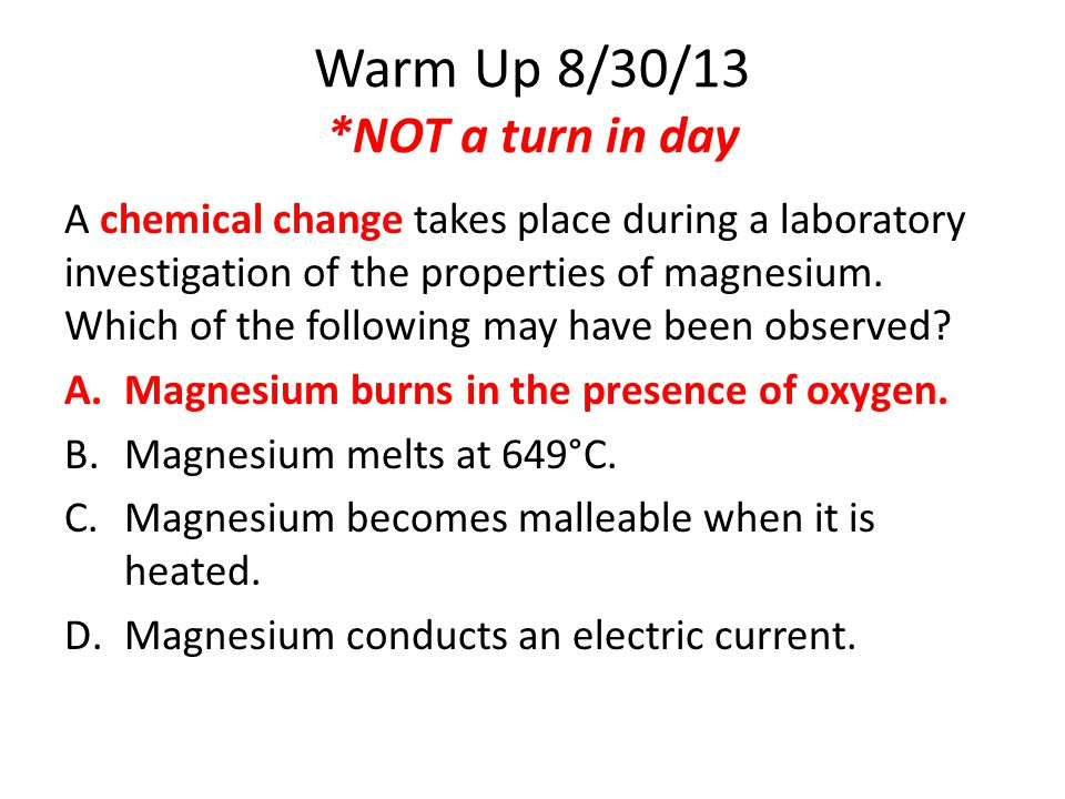 Warm Up 8/30/13 *NOT a turn in day