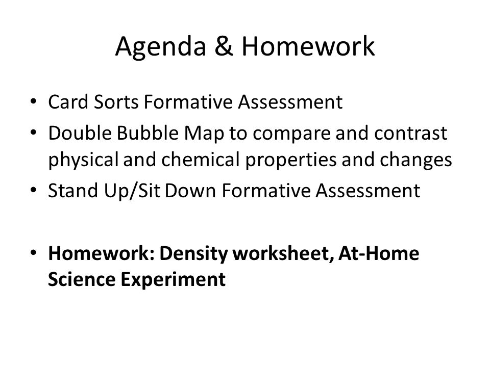 Agenda & Homework Card Sorts Formative Assessment