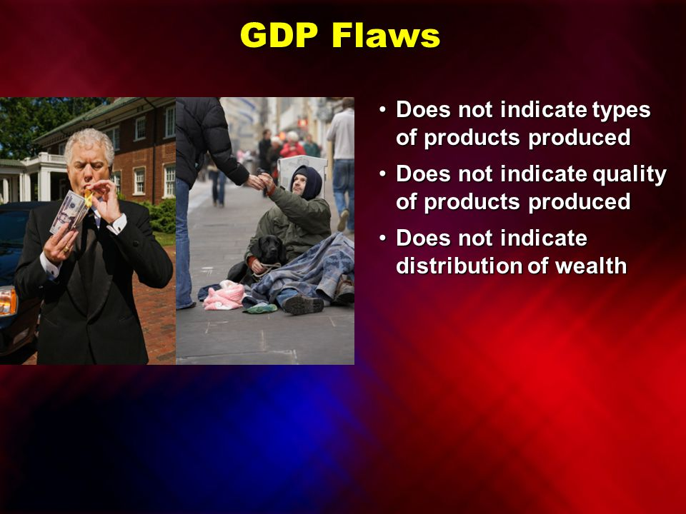 GDP Flaws Does not indicate types of products produced