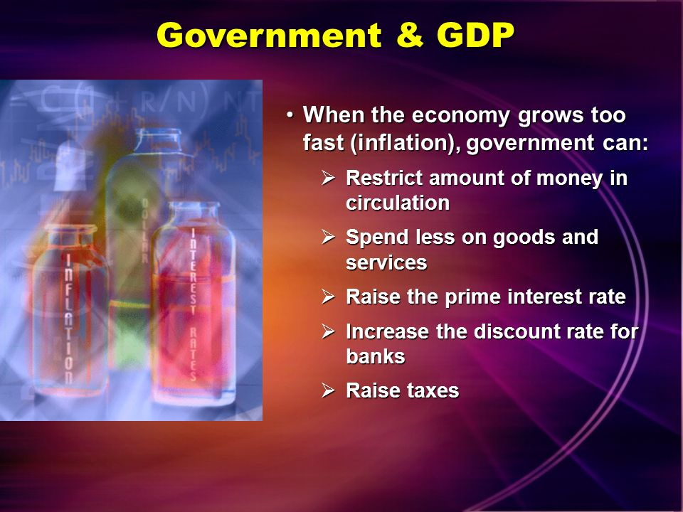 Government & GDP When the economy grows too fast (inflation), government can: Restrict amount of money in circulation.