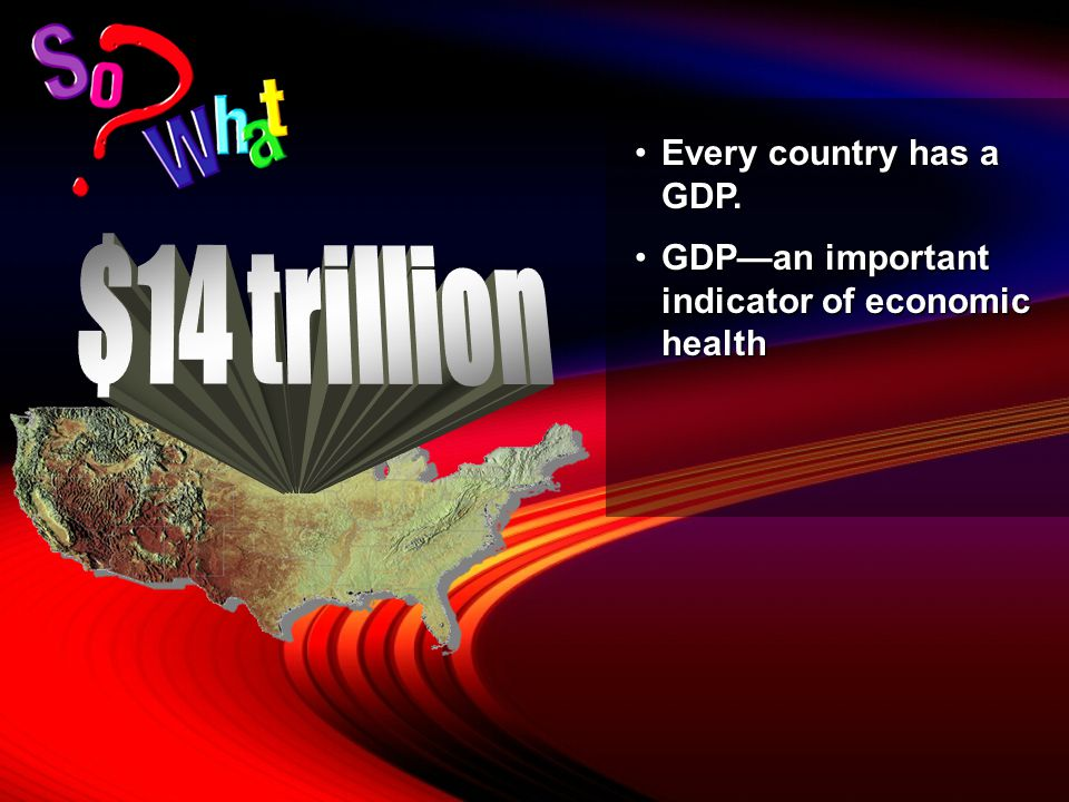 $14 trillion Every country has a GDP.