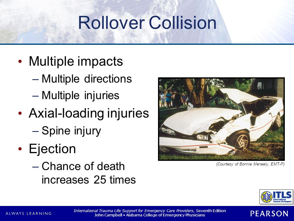 Rotational Collision Head-on, lateral-impact combination
