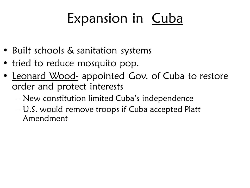 Expansion in Cuba Built schools & sanitation systems