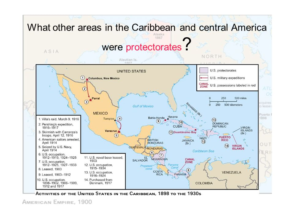 What other areas in the Caribbean and central America were protectorates