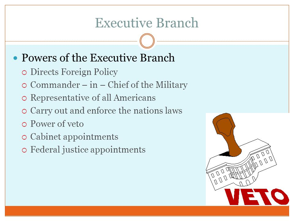 Executive Branch Powers of the Executive Branch Directs Foreign Policy