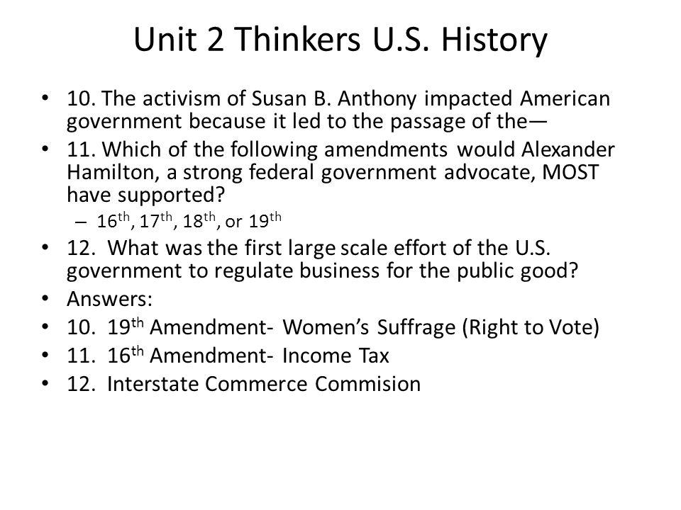 Unit 2 Thinkers U.S. History
