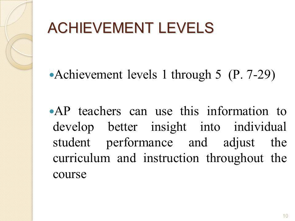ACHIEVEMENT LEVELS Achievement levels 1 through 5 (P. 7-29)