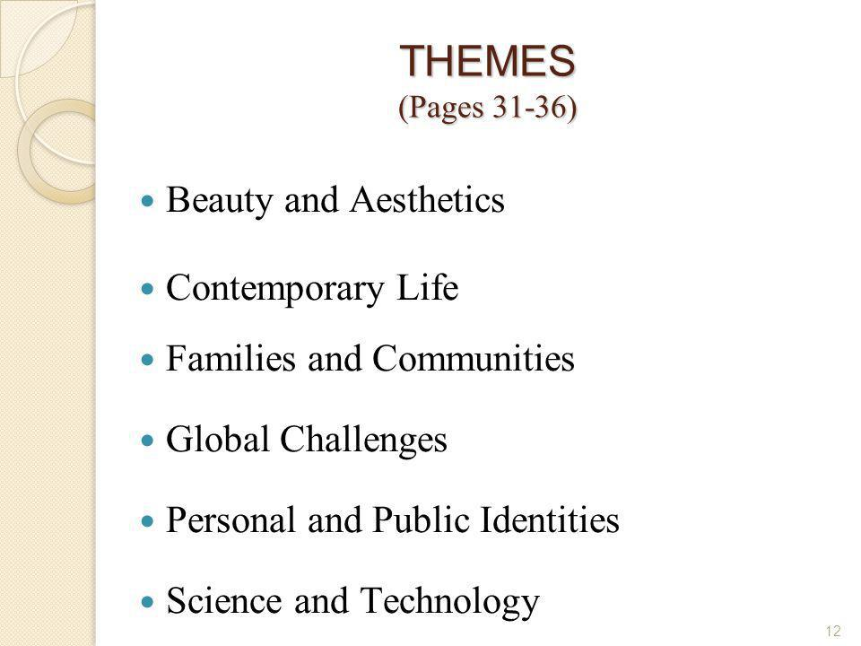 THEMES (Pages 31-36) Beauty and Aesthetics Contemporary Life