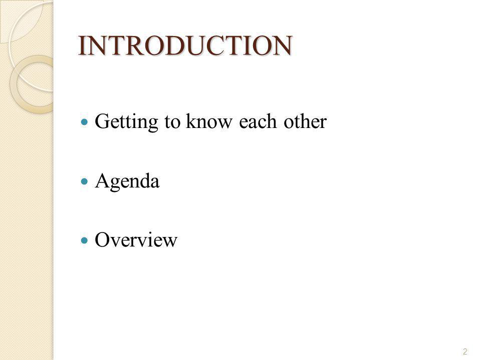 INTRODUCTION Getting to know each other Agenda Overview 2