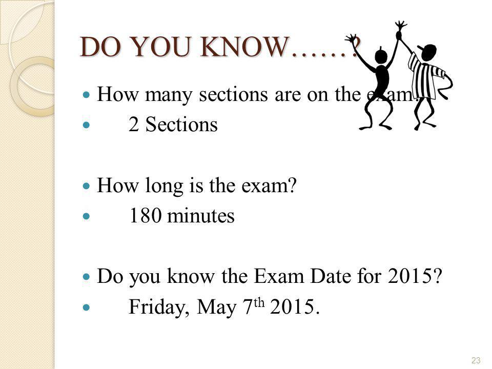 DO YOU KNOW…… How many sections are on the exam 2 Sections