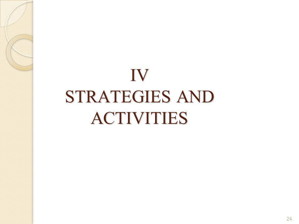 IV STRATEGIES AND ACTIVITIES
