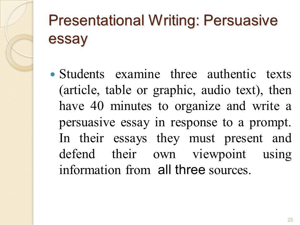 Presentational Writing: Persuasive essay