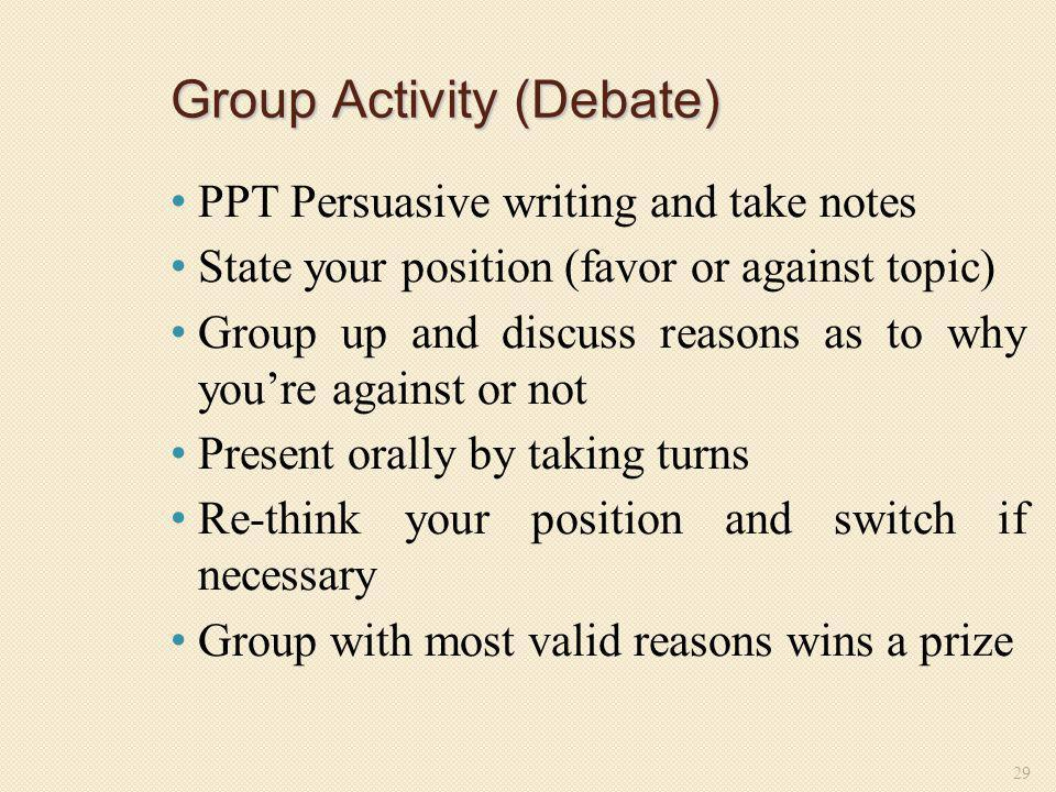 Group Activity (Debate)