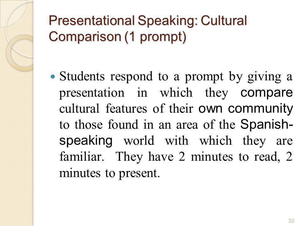 Presentational Speaking: Cultural Comparison (1 prompt)