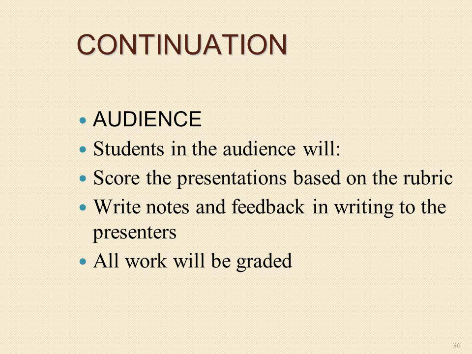 CONTINUATION AUDIENCE Students in the audience will: