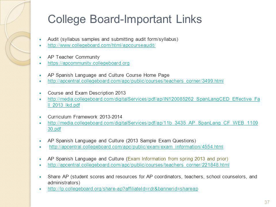 College Board-Important Links