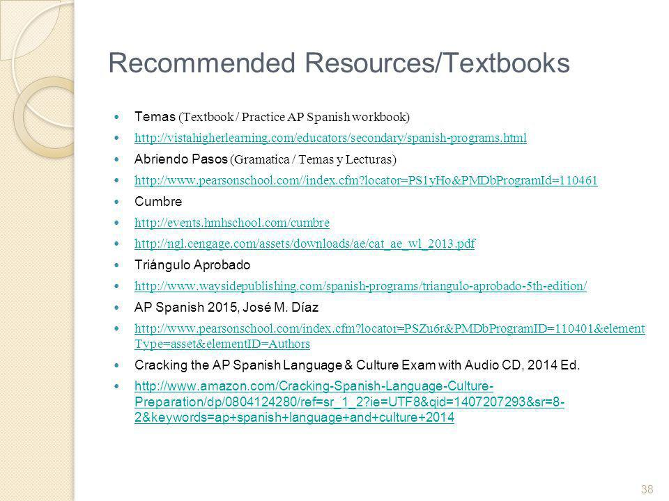 Recommended Resources/Textbooks