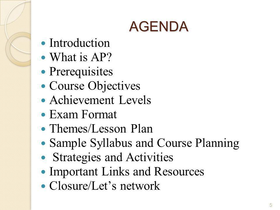 AGENDA Introduction What is AP Prerequisites Course Objectives