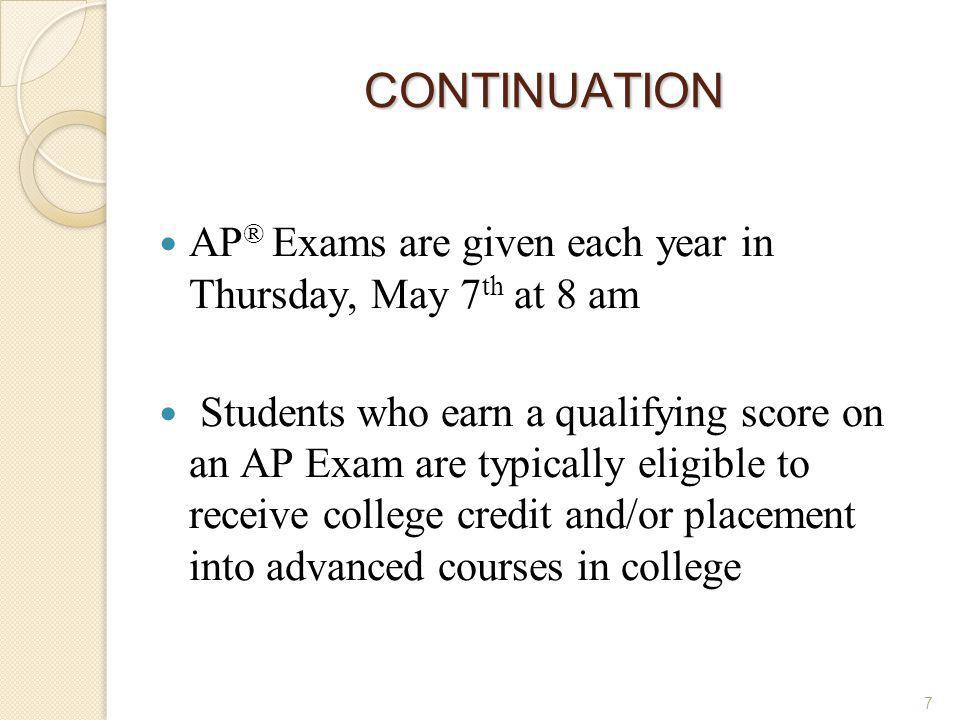 CONTINUATION AP® Exams are given each year in Thursday, May 7th at 8 am.