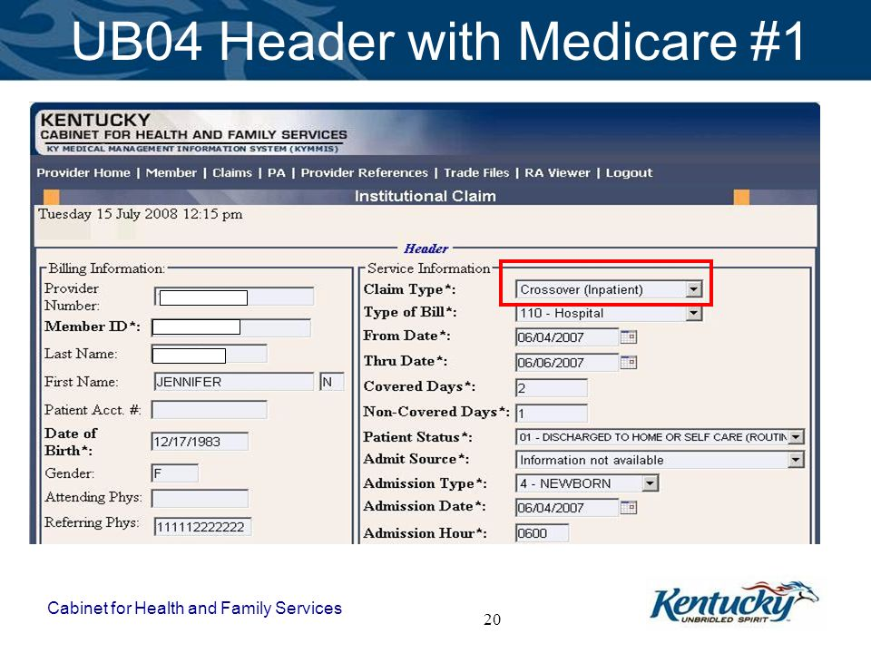 UB04 Header with Medicare #1
