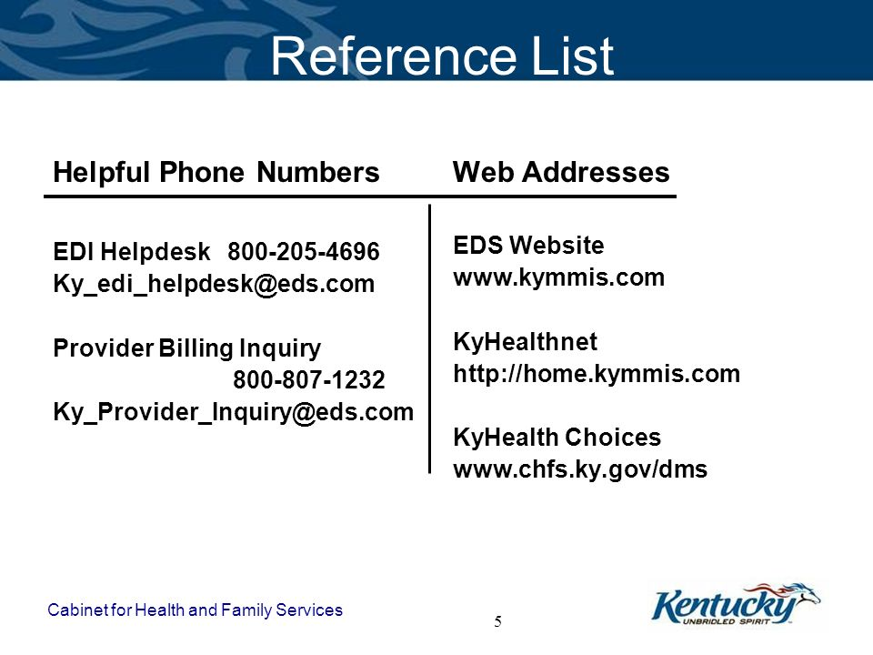 Reference List Helpful Phone Numbers Web Addresses EDS Website