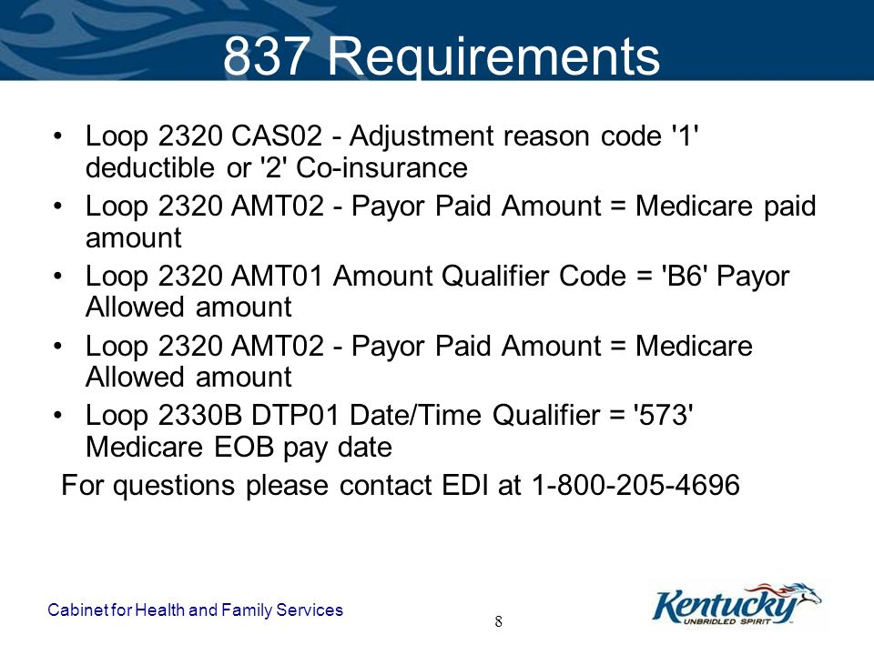 837 Requirements Loop 2320 CAS02 - Adjustment reason code 1 deductible or 2 Co-insurance.