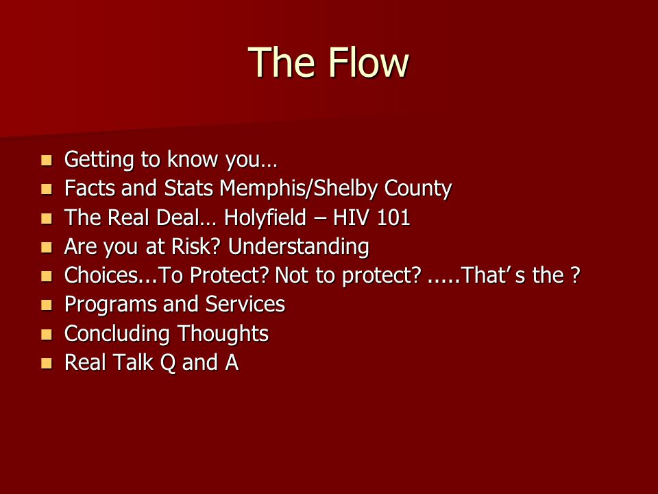 The Flow Getting to know you… Facts and Stats Memphis/Shelby County