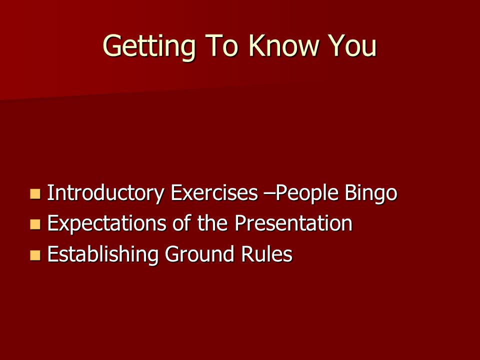 Getting To Know You Introductory Exercises –People Bingo