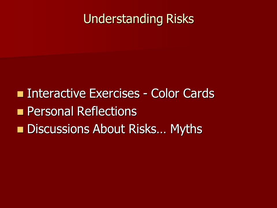 Understanding Risks Interactive Exercises - Color Cards.