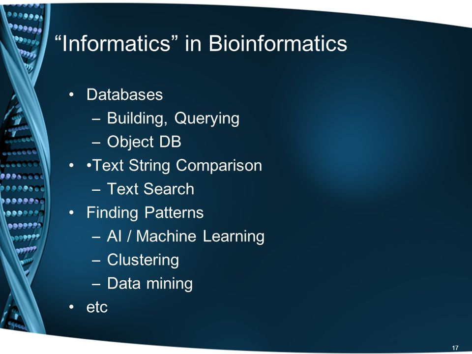 Informatics in Bioinformatics