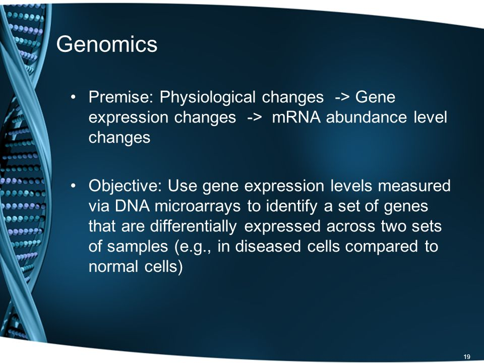 Genomics Premise: Physiological changes -> Gene expression changes -> mRNA abundance level changes.