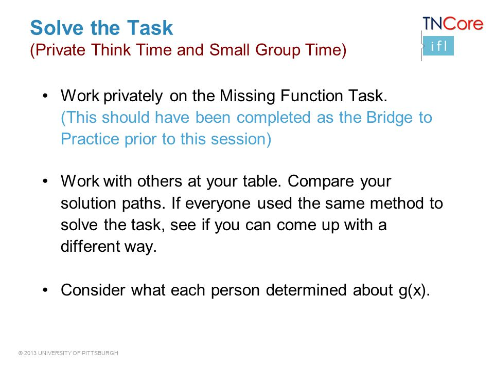 Solve the Task (Private Think Time and Small Group Time)