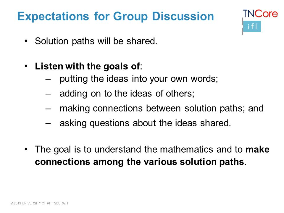 Expectations for Group Discussion