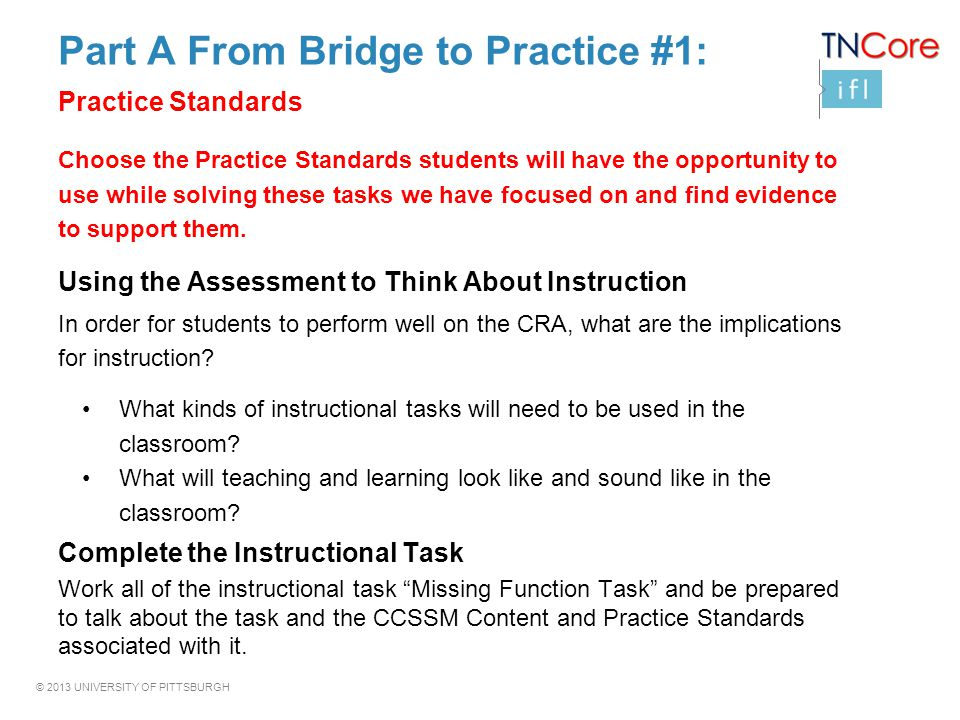 Part A From Bridge to Practice #1: