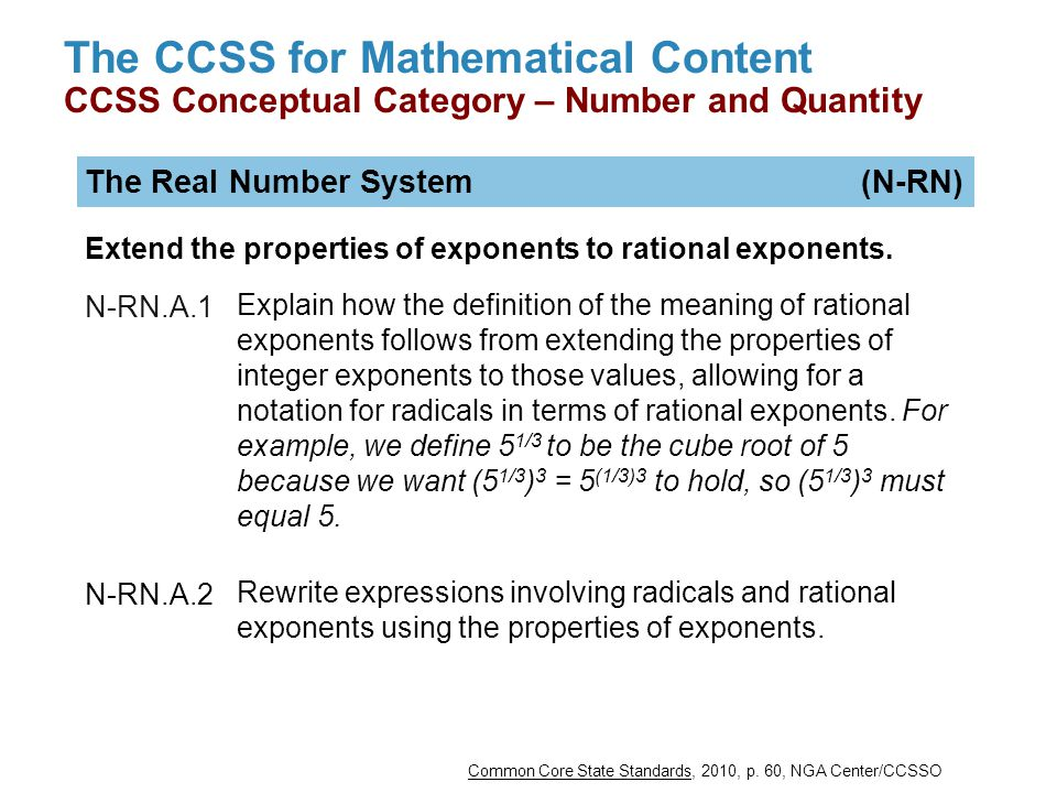 The CCSS for Mathematical Content CCSS Conceptual Category – Number and Quantity