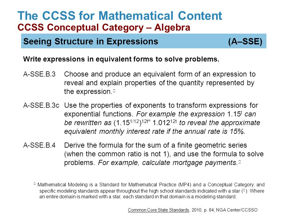 The CCSS for Mathematical Content CCSS Conceptual Category – Algebra