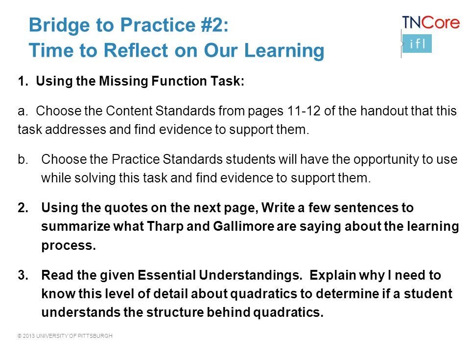Bridge to Practice #2: Time to Reflect on Our Learning