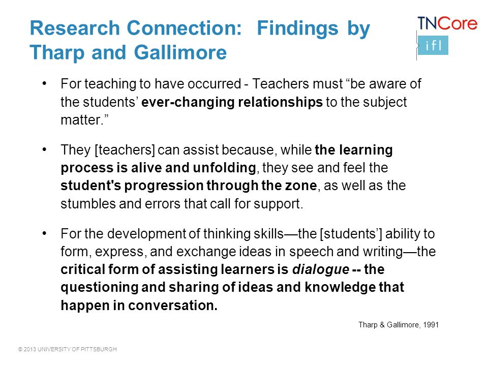 Research Connection: Findings by Tharp and Gallimore