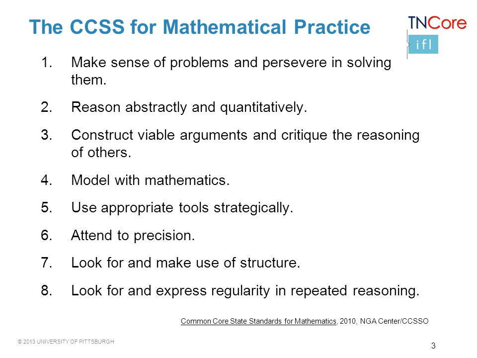 The CCSS for Mathematical Practice
