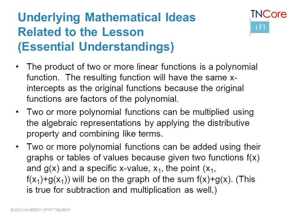 Underlying Mathematical Ideas Related to the Lesson (Essential Understandings)